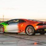 Folie exterioara tricolora de 10.000 de euro pe un Lamborghini